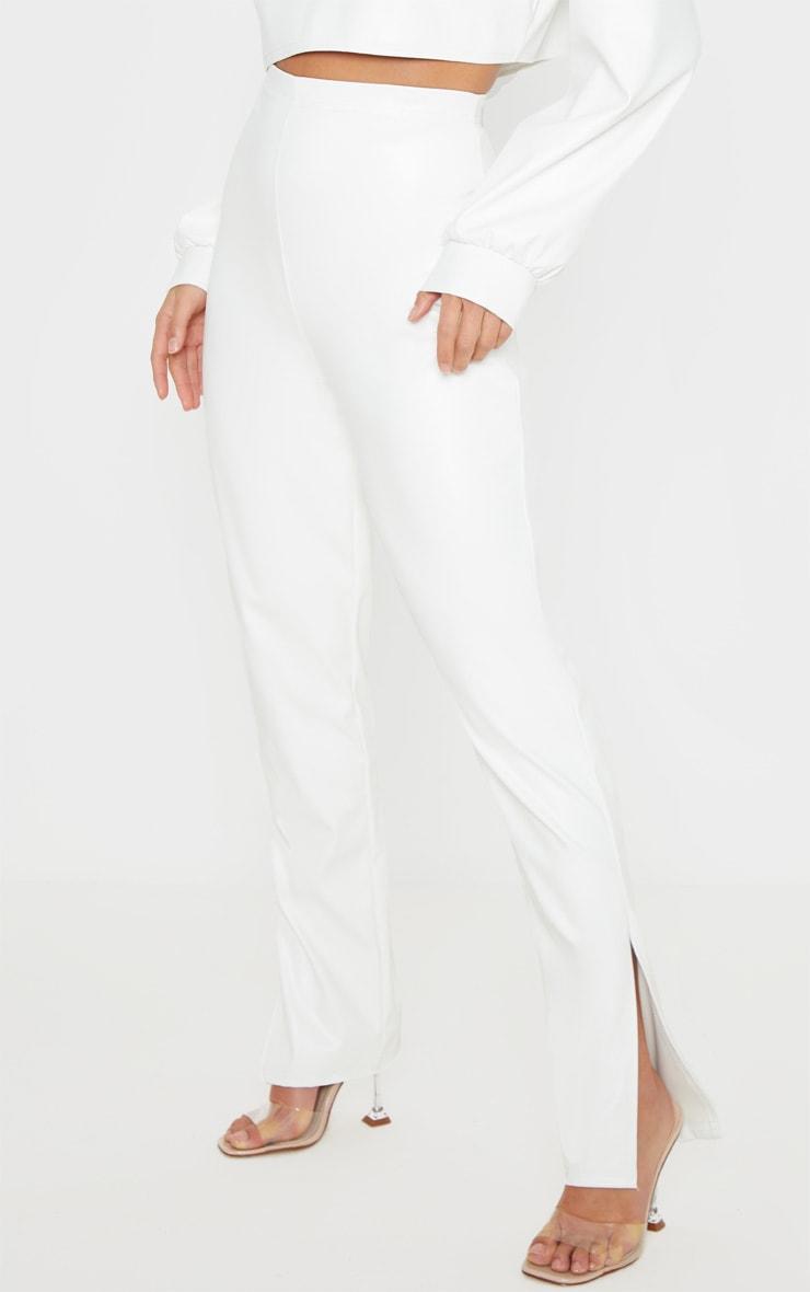 Petite White Split Hem Flared PU Pants 2
