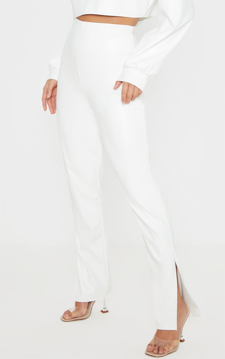 Petite White Split Hem Flared PU Trouser 2