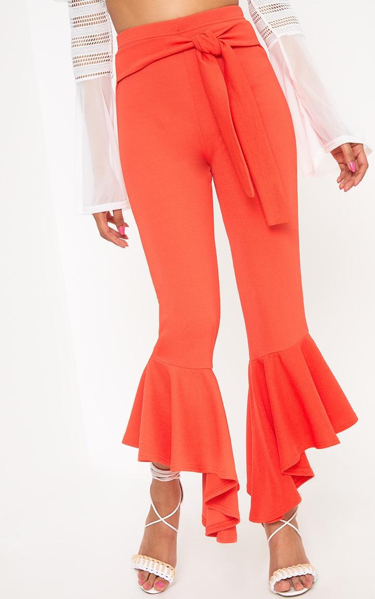 Orange High Low Hem Tie Waist Trousers 5