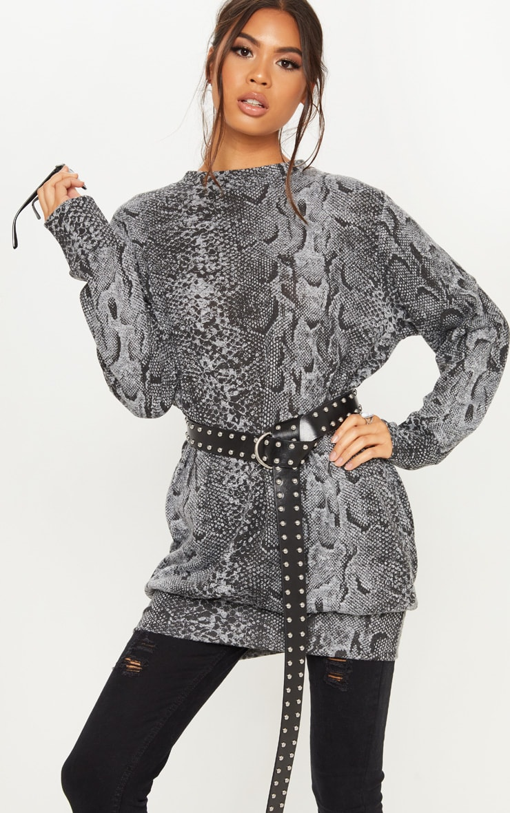 Grey Knitted Snake Print Oversized Jumper