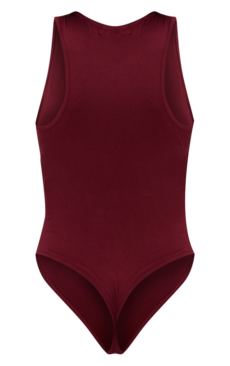 Basic Maroon Racer Back Thong Bodysuit  4