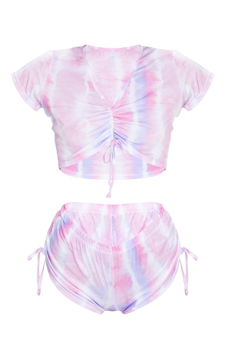 Pastel Pink Tie Dye Ruched Top And Short PJ Set 5