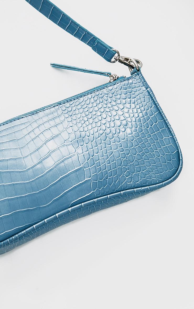 Steel Blue Croc Shoulder Bag 5