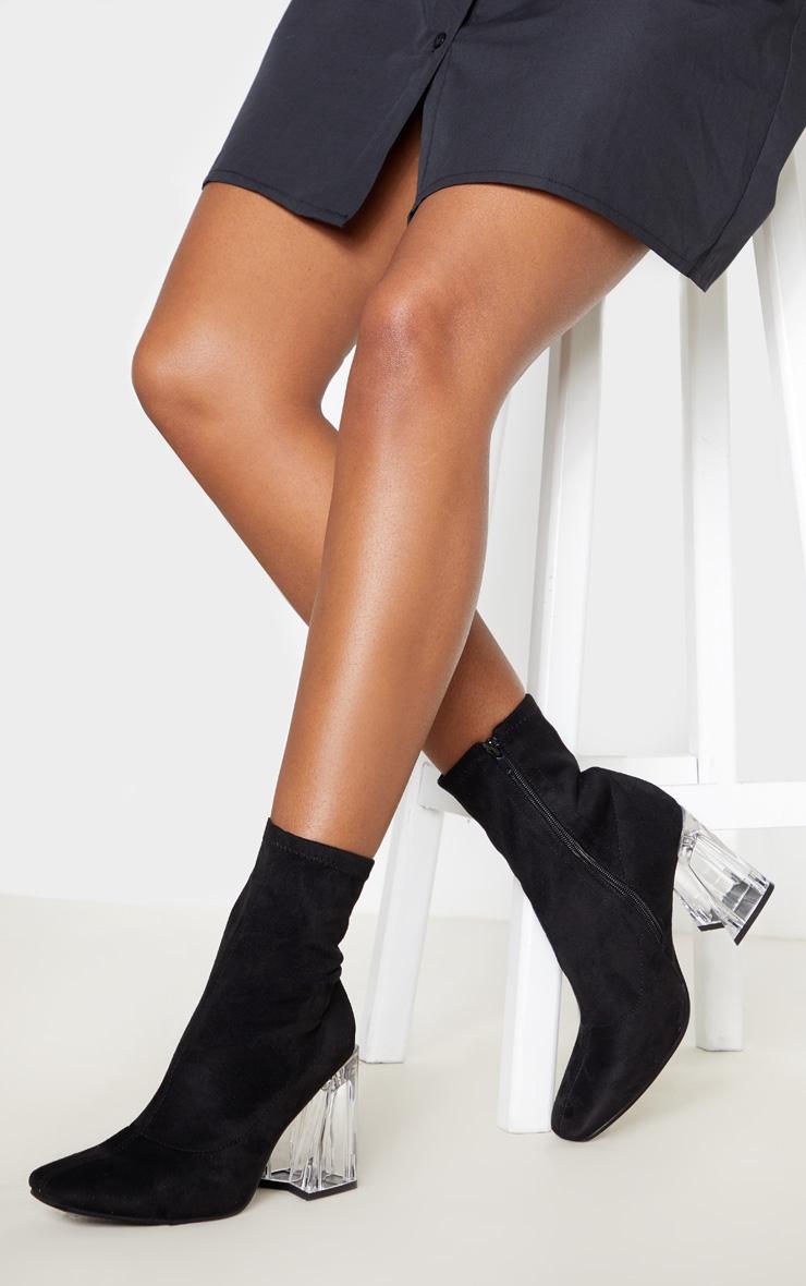 Black Clear Block Heel Sock Boot 1