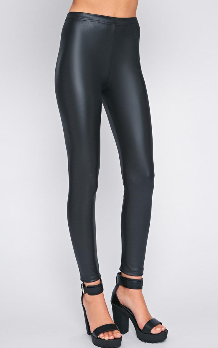 Tilly Black Wet Look Leggings  4