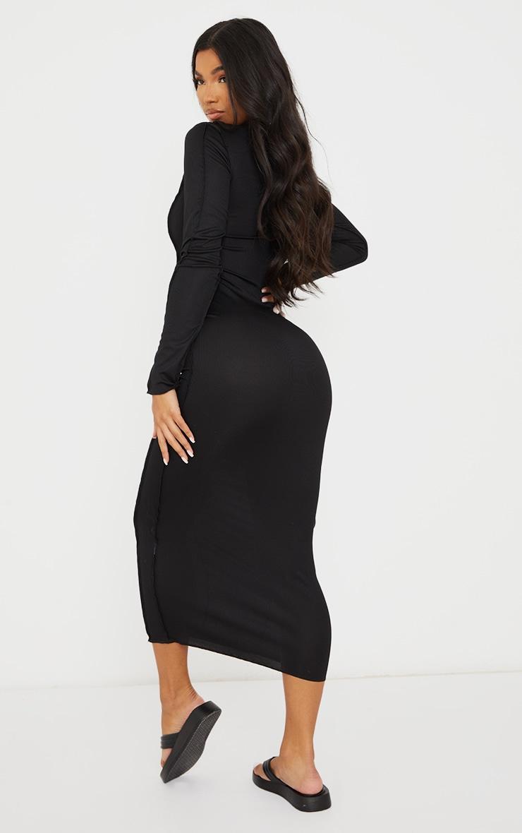 Robe longue noire manches longues côtelée à coutures asymétriques 2