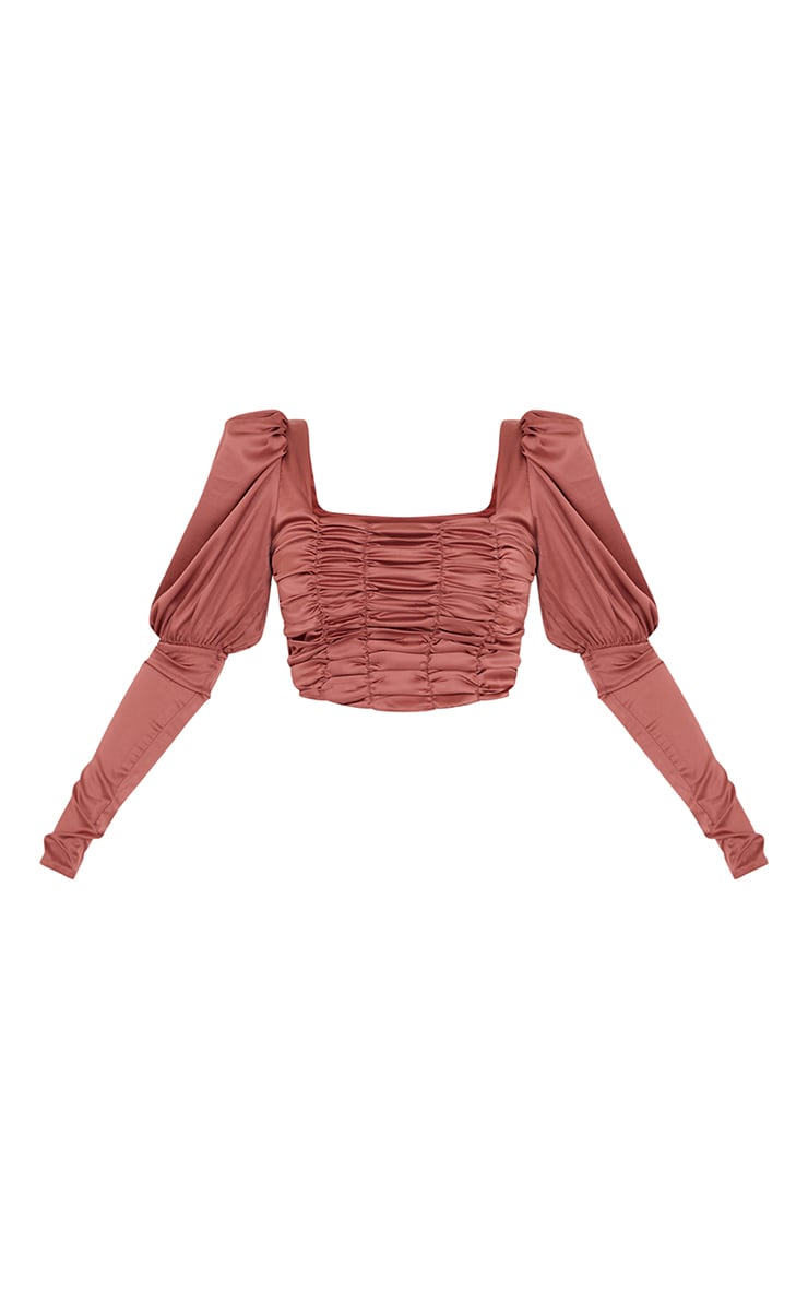 Terracotta Satin Ruched Front Puff Long Sleeve Crop Top 5