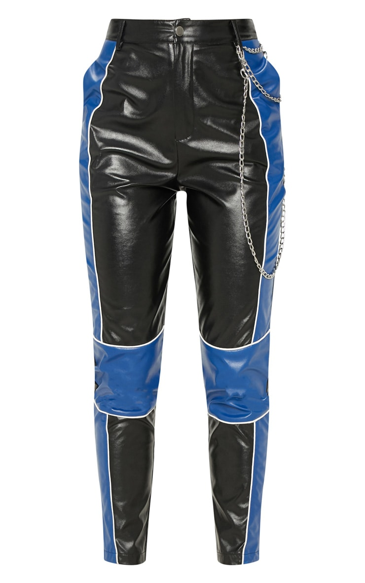 Black Faux Leather Contrast Panel Skinny Trouser  3