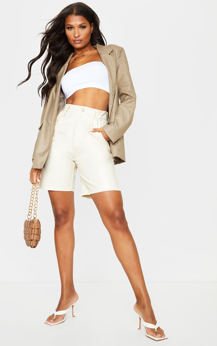 Stone Faux Leather Longline Pleat Detail Shorts