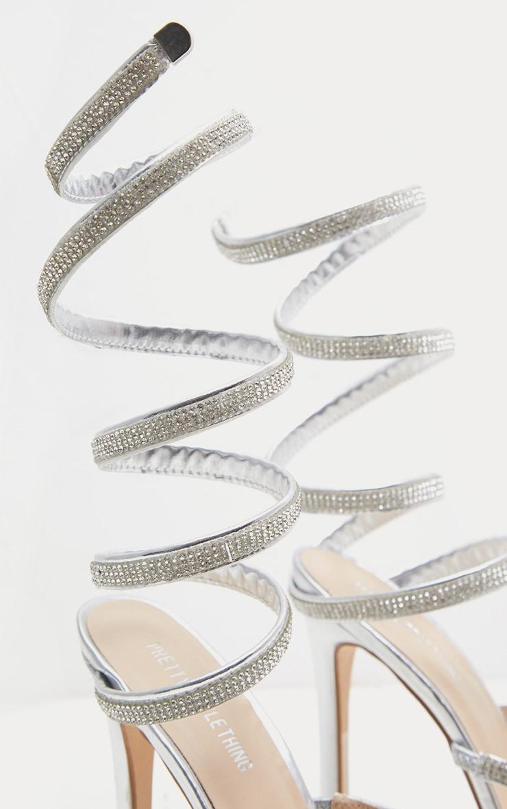 Silver Diamante Wrap Strap High Heeled Sandal 4