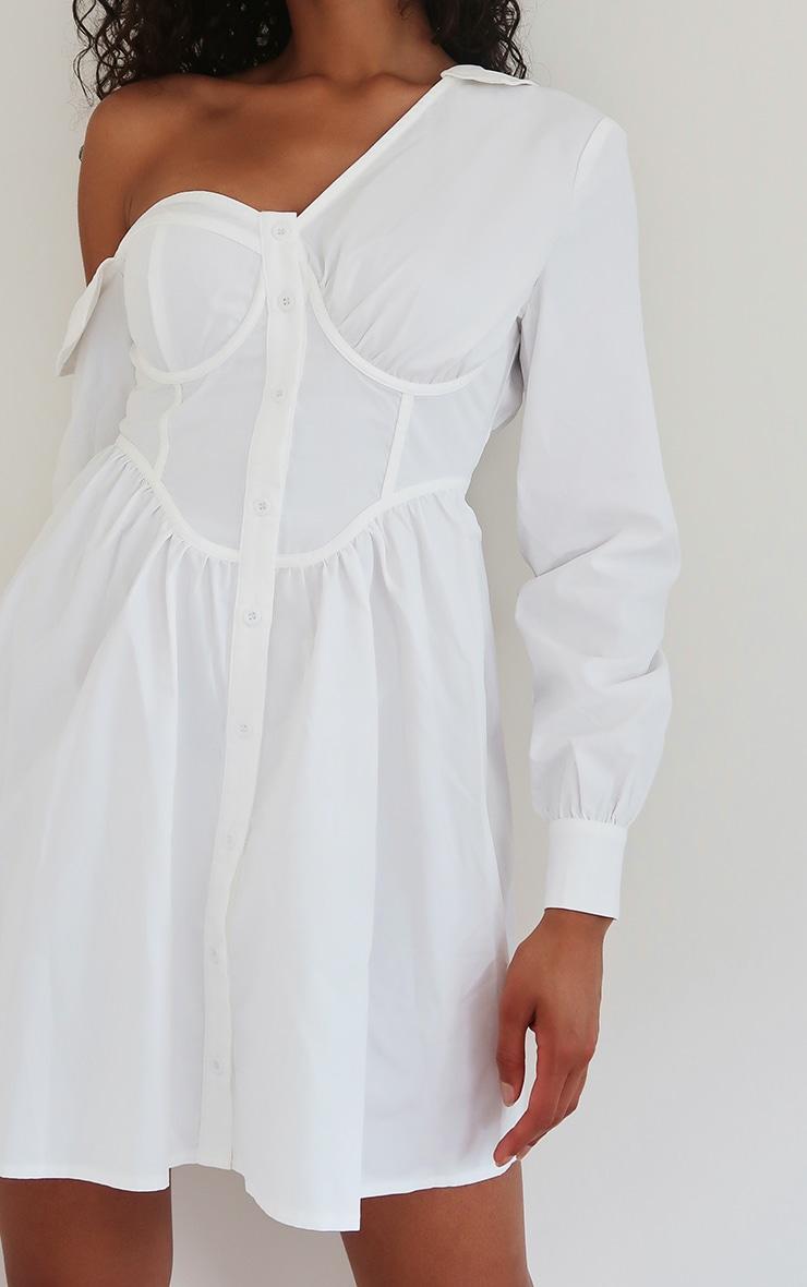 White Off The Shoulder Corset Detail Shift Shirt Dress 3