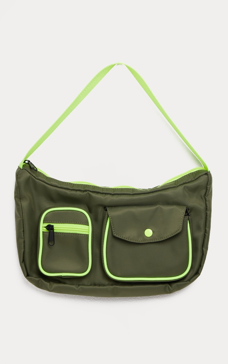 Khaki Double Pocket Nylon Shoulder Bag 2