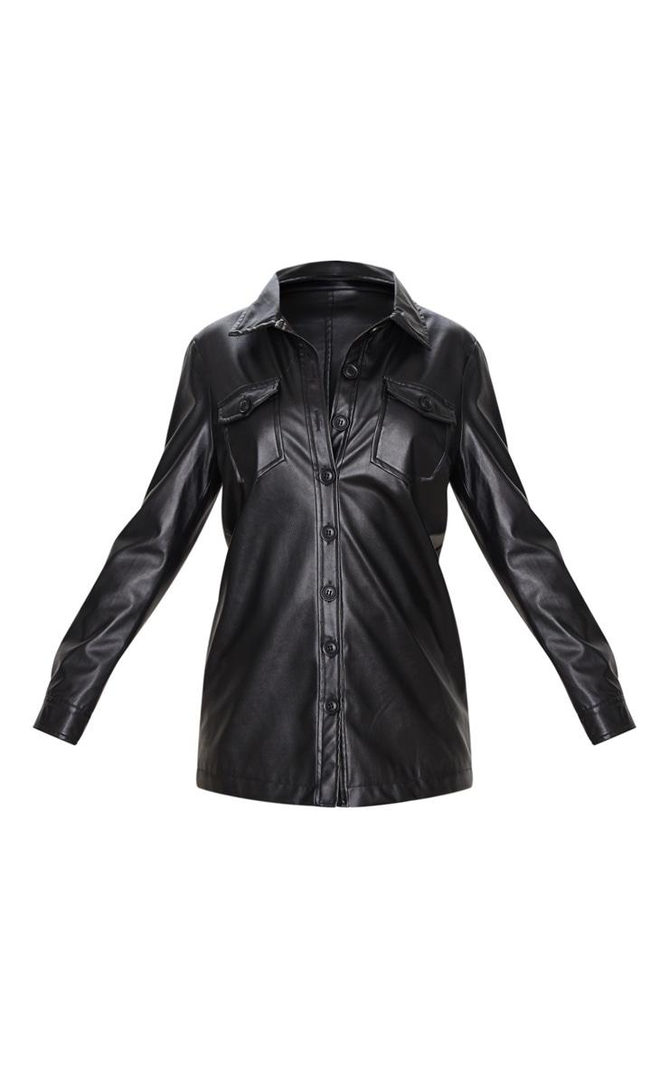 Black Faux Leather Longline Shirt Jacket 5