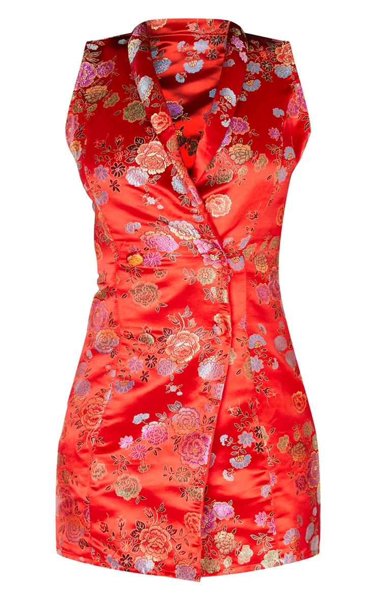 Red Jacquard High Collar Sleeveless Blazer Dress 3