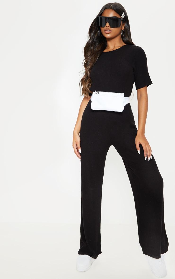 Black Soft Rib Short Sleeve Jumpsuit 1