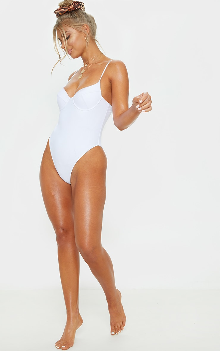 White Basic Cupped Swimsuit 6