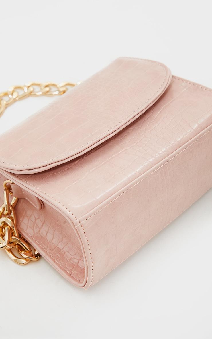 Pink Croc Chunky Chain Shoulder Bag 4