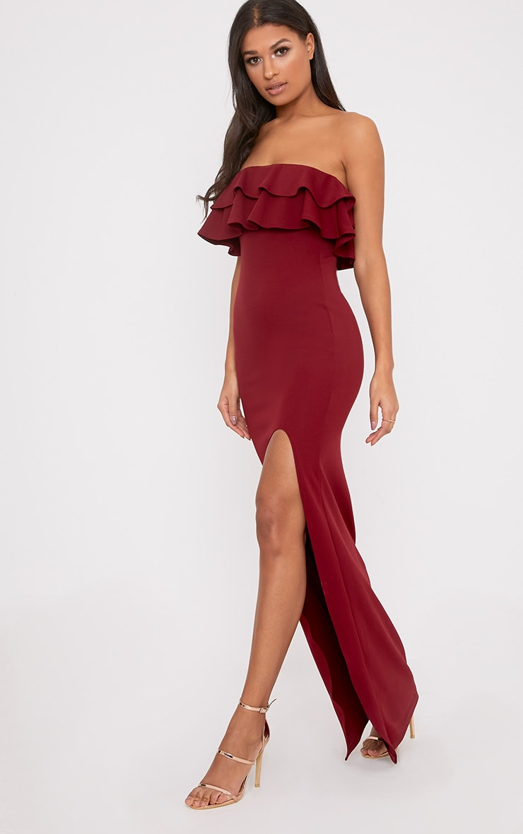 Angelique Burgundy Frill Bandeau Maxi Dress 4