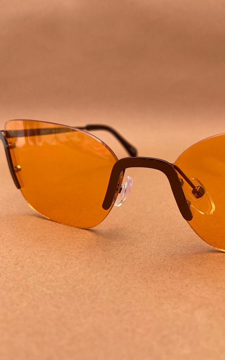 Orange Lens Framless Cat Eye Sunglasses 3