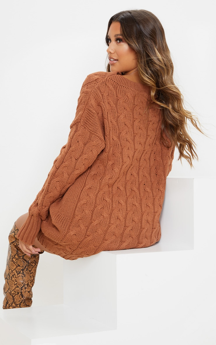 Tan Cable Detail Knitted Jumper Dress 2