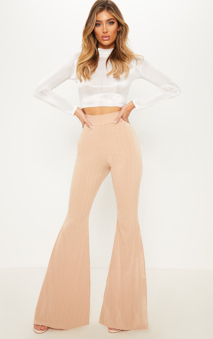 Nude Jersey Rib Extreme Flare Trouser