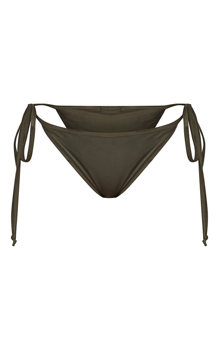 Khaki Mix & Match Adjustable Tie Side Bikini Bottom 3