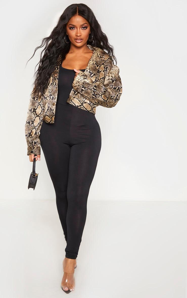 Shape Black Jersey Cap Sleeve Jumpsuit 1