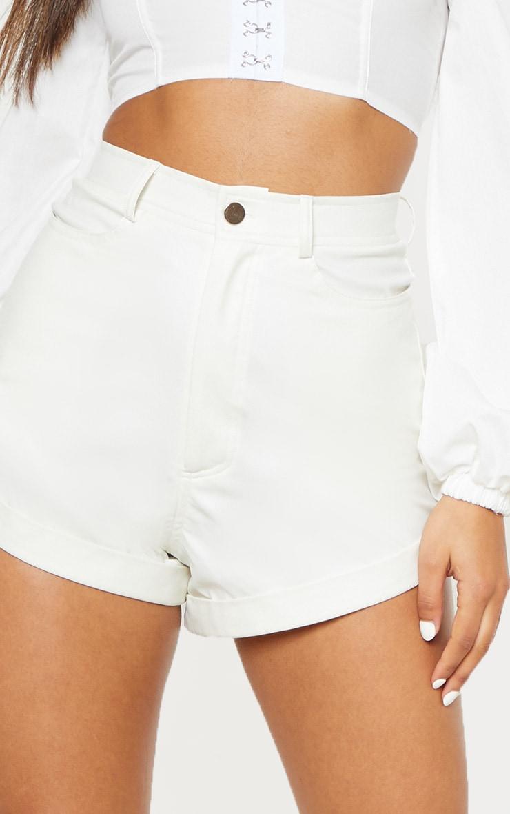 White Faux Leather Turn Up Hem Short 6