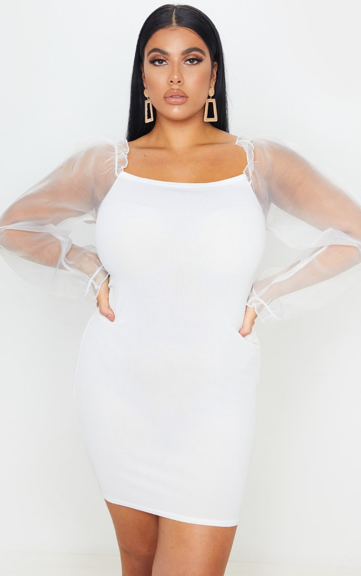 Plus Cream Long Sleeve Organza Style Bodycon Dress 1