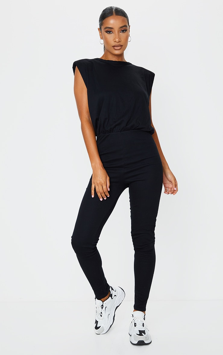 Black Shoulder Pad Cotton Elastane Jumpsuit 1