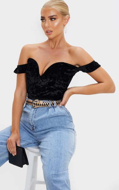 Black Crushed Velvet V Wire Bardot Bodysuit