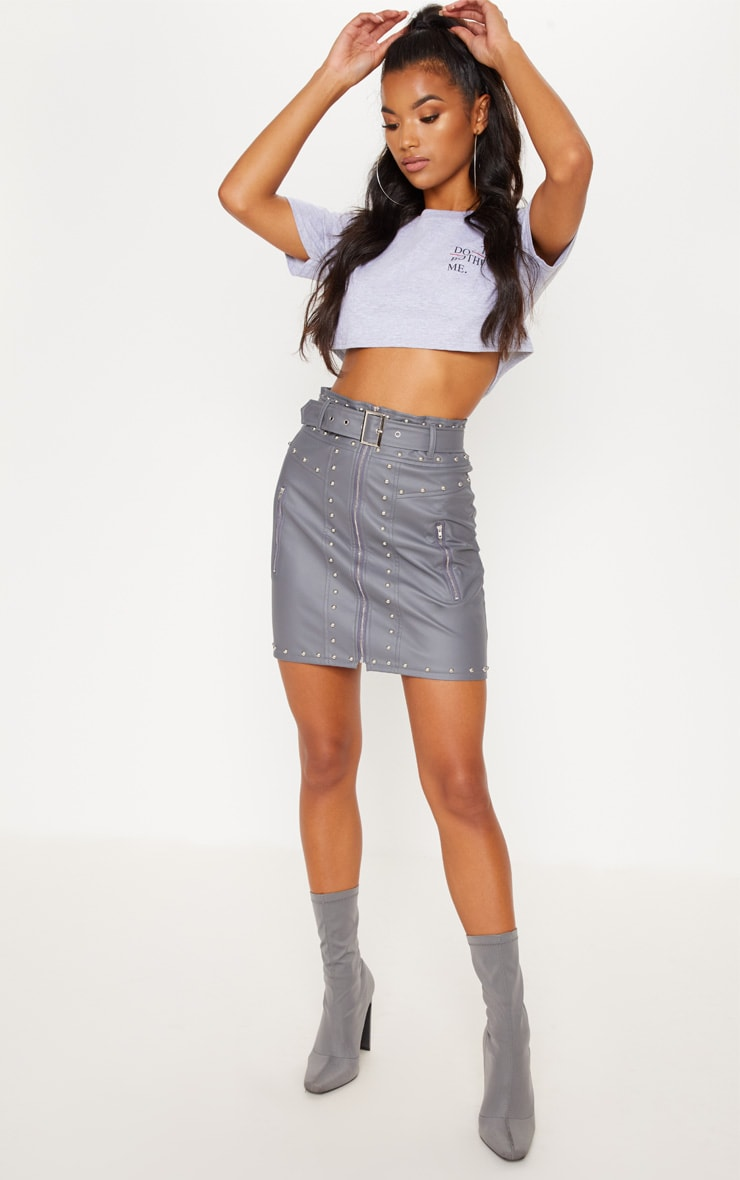 Rose Faux Leather Stud Detail Belted Mini Skirt  5