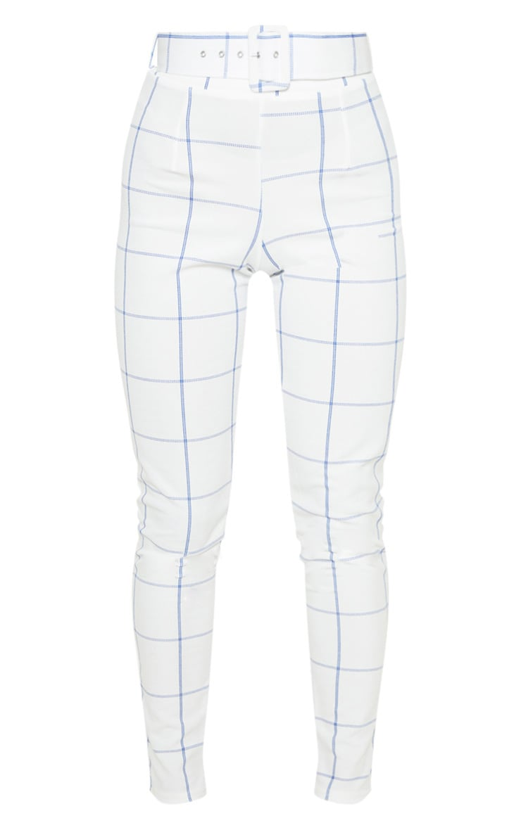 White-Navy Check Belted Waist Skinny Pants 3