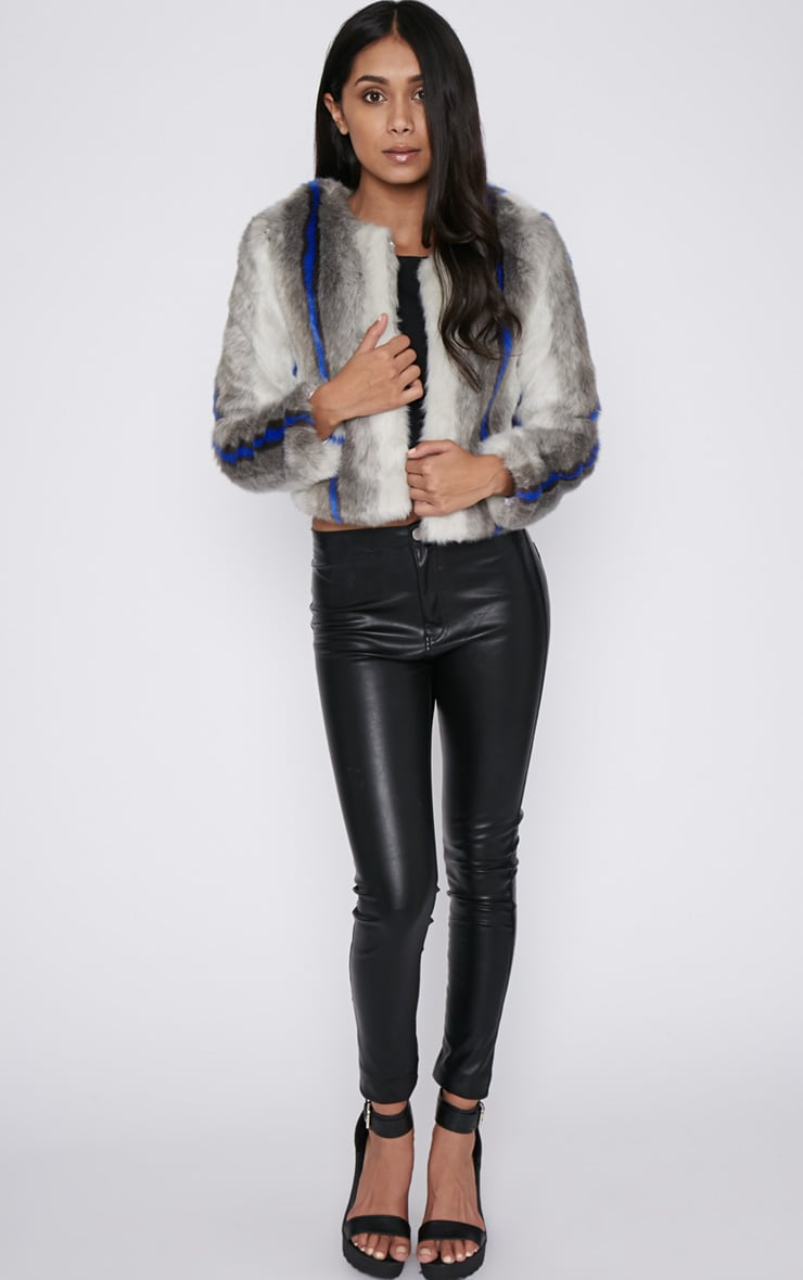 Preslie Grey Cropped Faux Fur Jacket with Cobalt Stripe 5