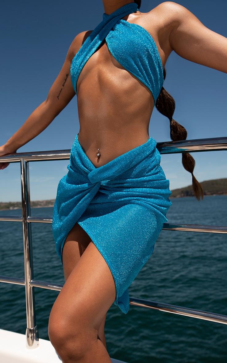 Blue Glitter Knot Front Beach Skirt 4