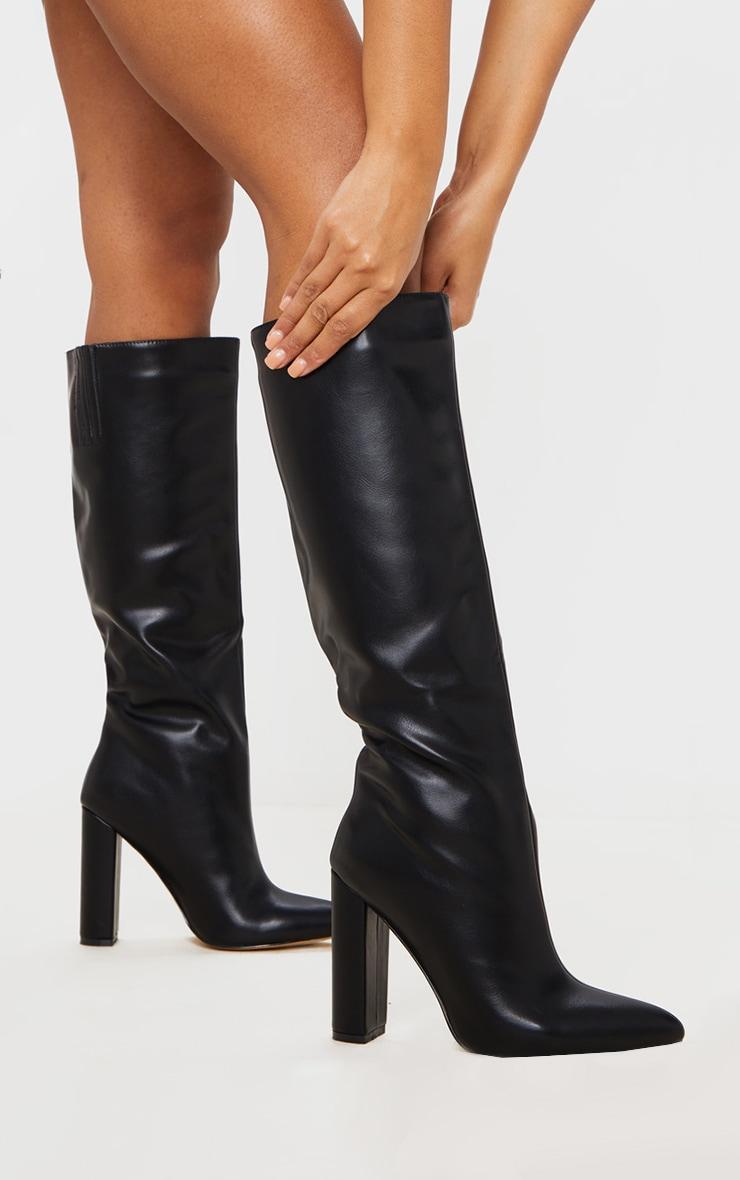 Black Wide Fit Knee High Point Block Heel Boot 1