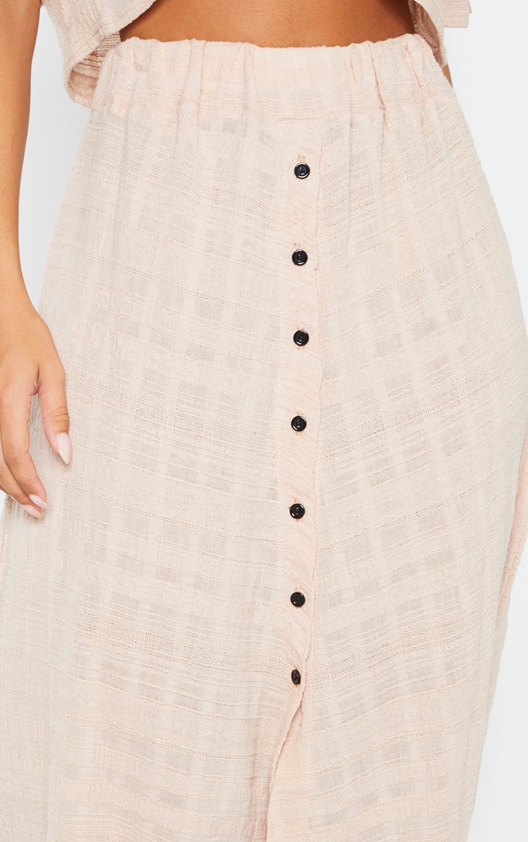 Stone Cotton Button Up Beach Skirt 5