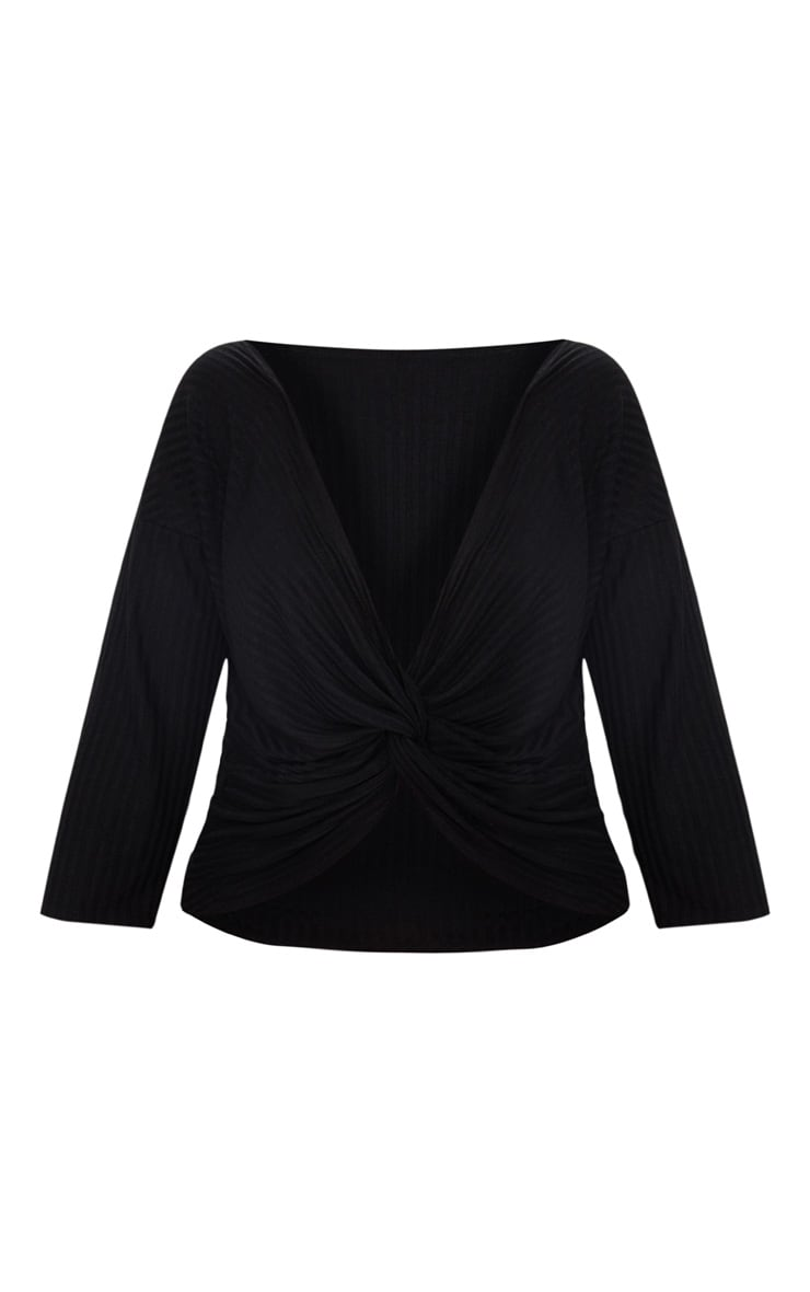 Plus Black Ribbed Wrap Front Top 3