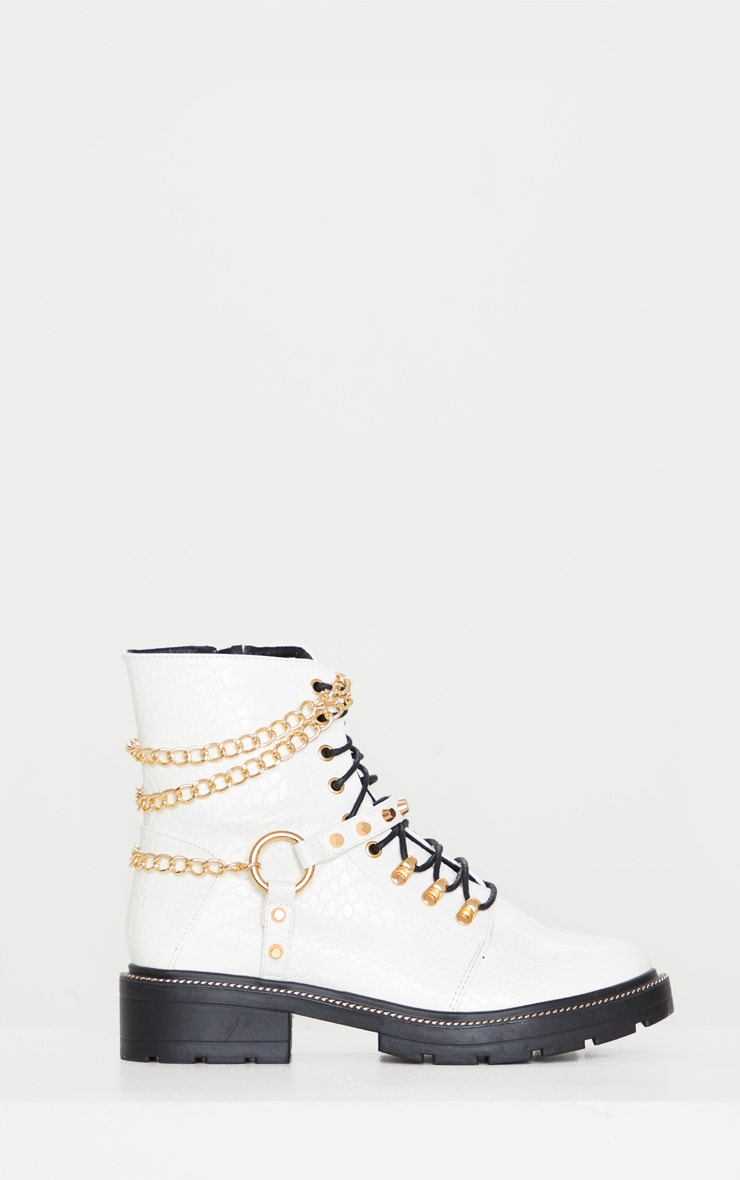 White Chain Hiker Lace Up Ankle Boot 4