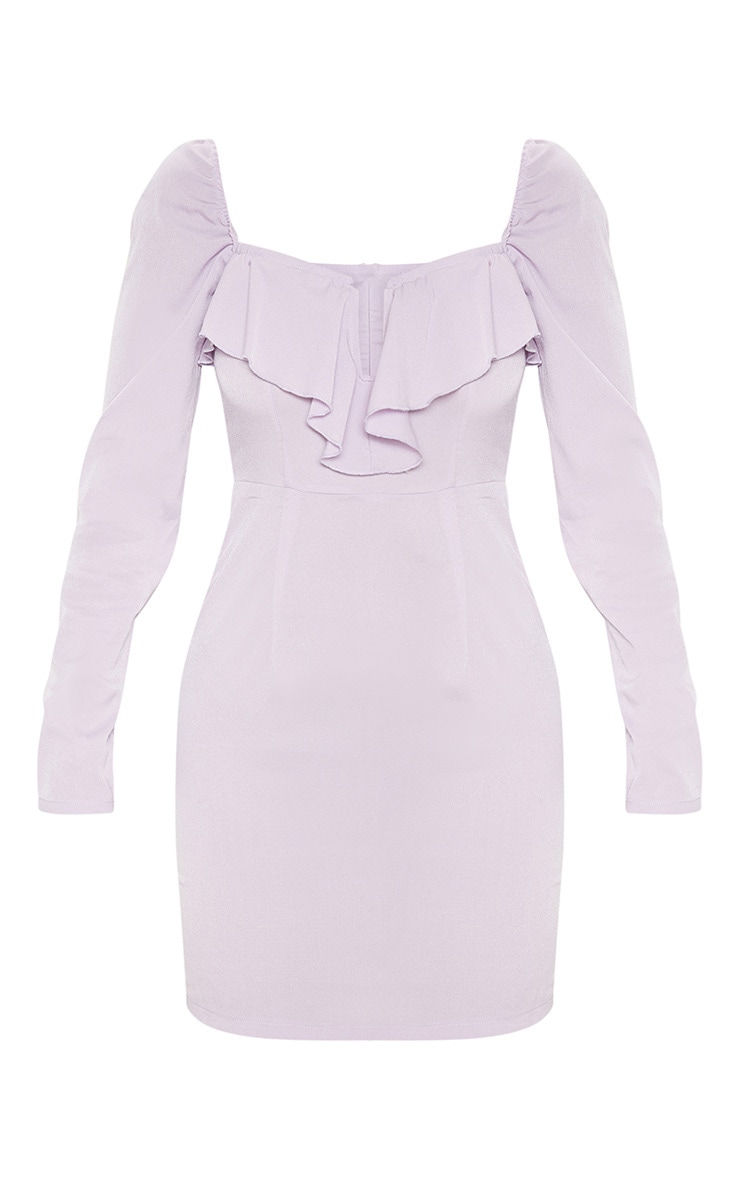 Dusty Lilac V Bar Frill Detail Bodycon Dress 3