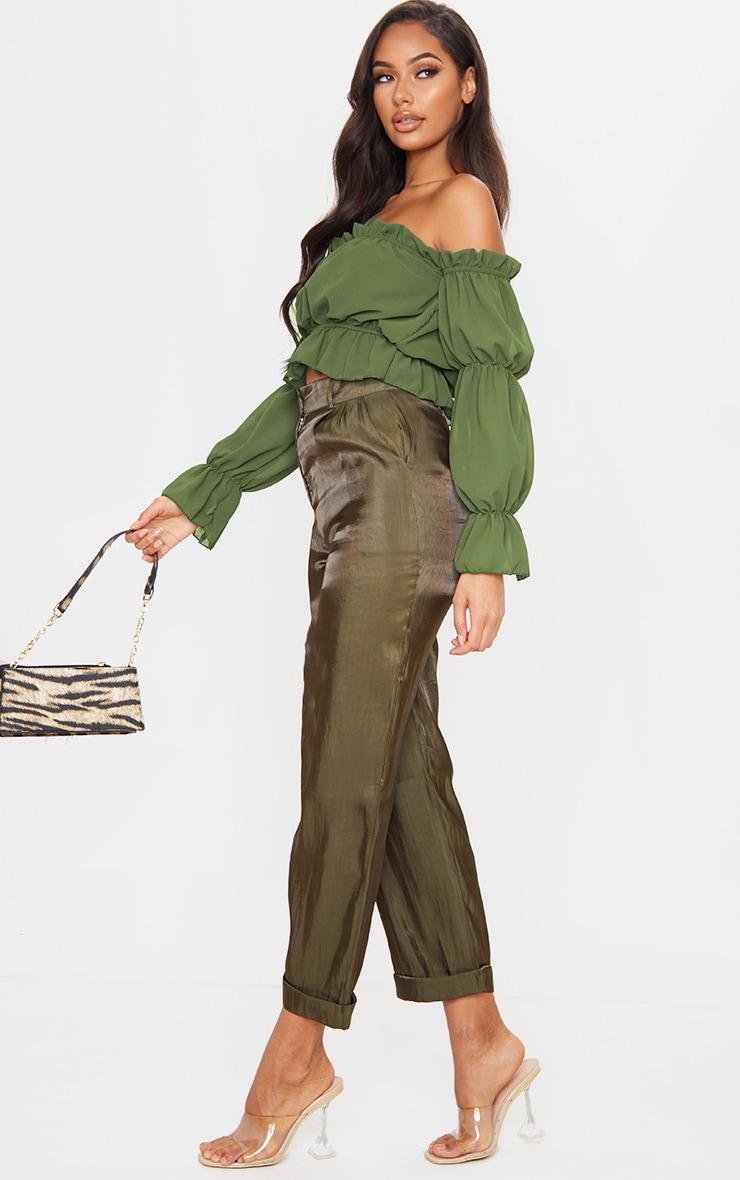 Khaki Woven Ruffle Bardot Flared Sleeve Blouse 3