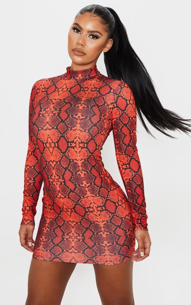 Red Snake Print High Neck Long Sleeve Bodycon Dress