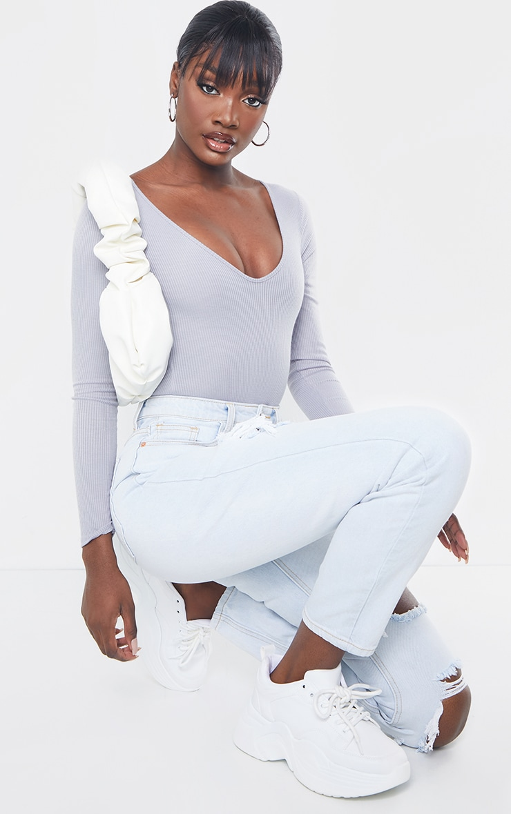 Tall Grey Ribbed Plunge Long Sleeve Bodysuit 3