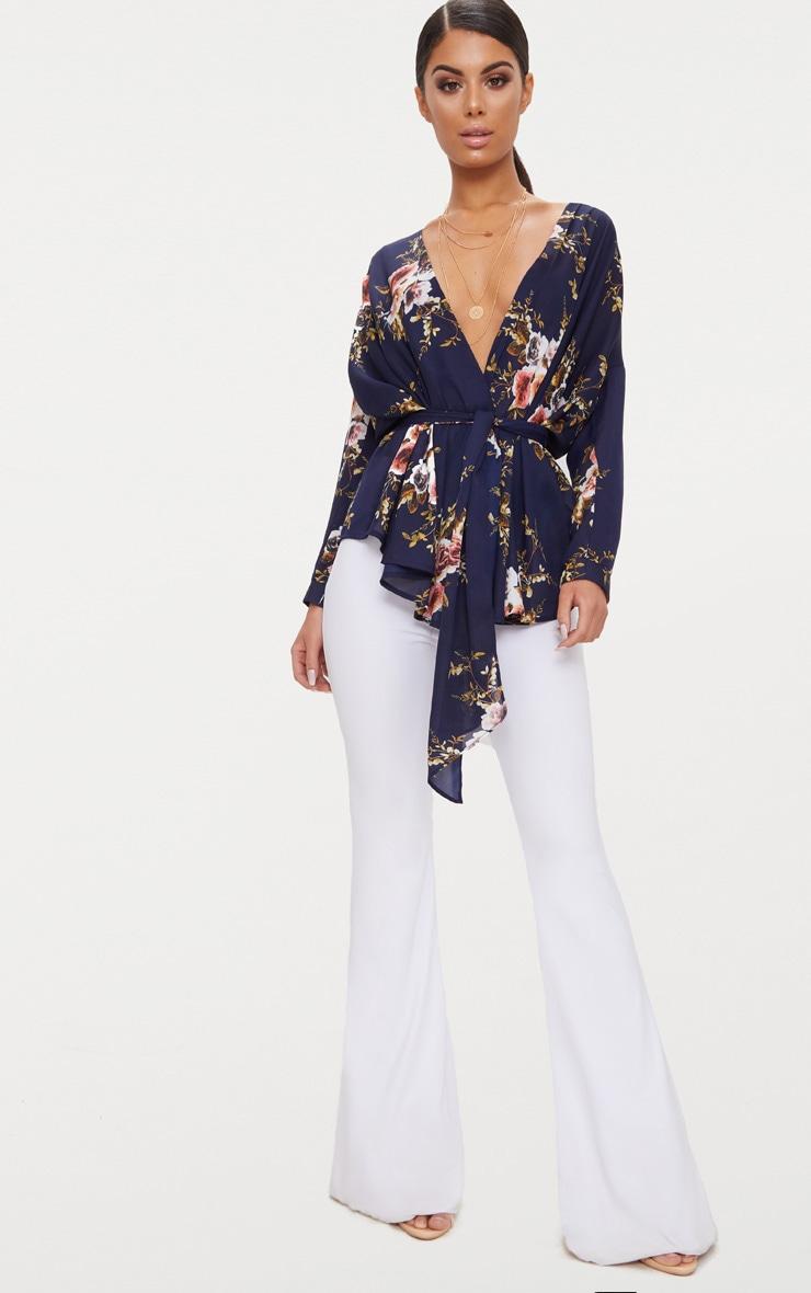 Navy Floral Print Tie Waist Blouse  4