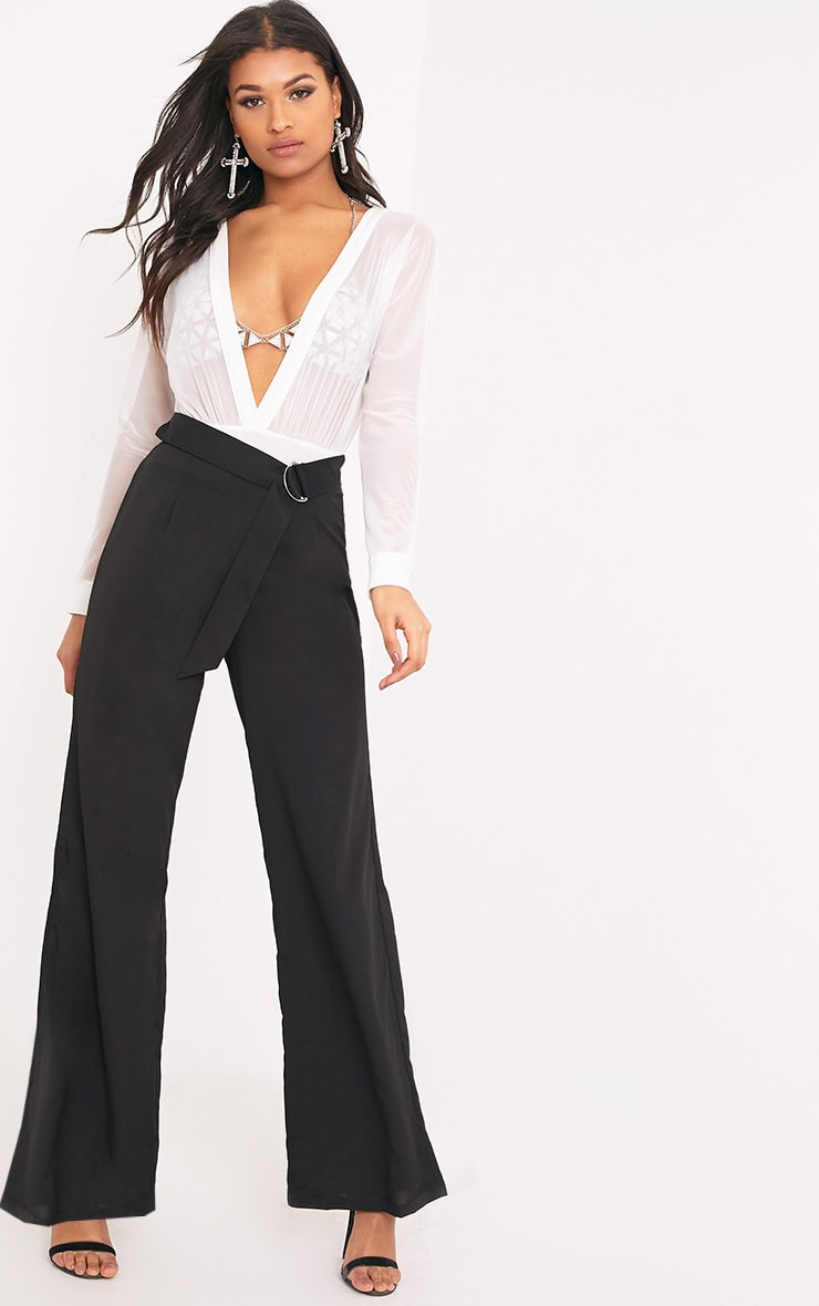 Kenna Black Belted D Ring Trousers 1