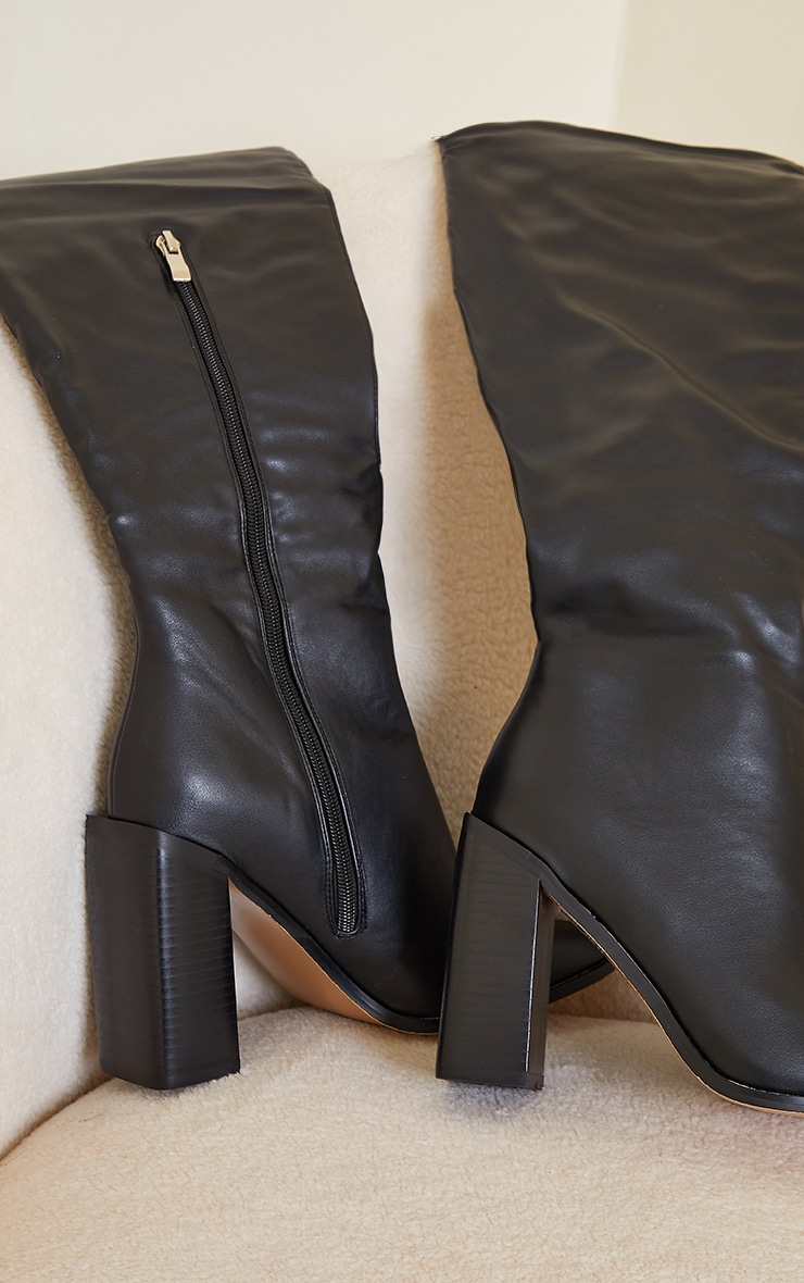 Black High Block Heel Faux Leather Thigh High Boots 3
