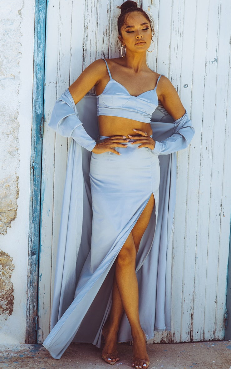Baby Blue Satin Maxi Skirt  1