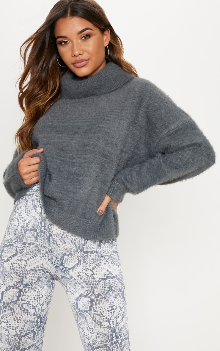 Charcoal High Neck Fluffy Knit Cropped Jumper  1