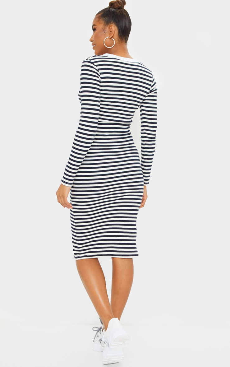 Cream Thick Rib Striped Button Through Long Sleeve Midi Dress 2