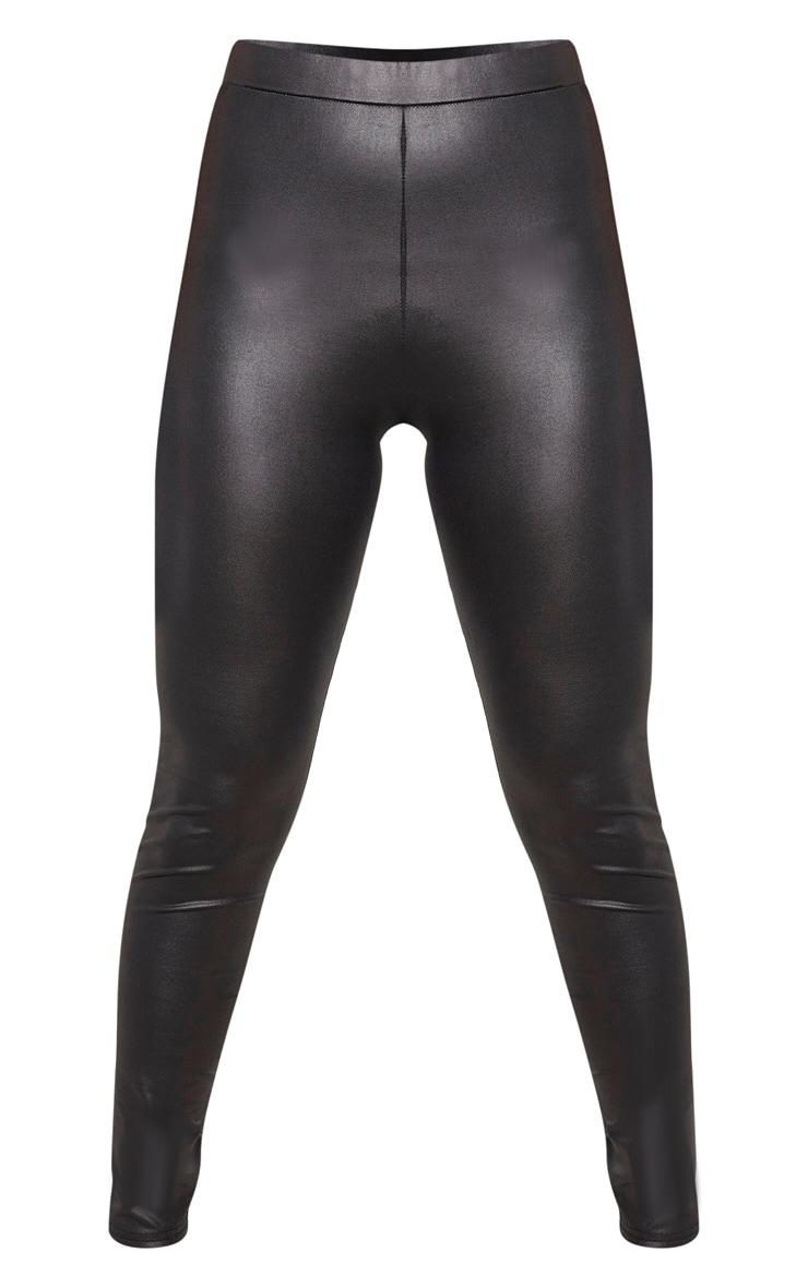 Petite Black PU Fitted Leggings 3